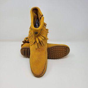 Minnetonka suede side zip double fringe boot Women